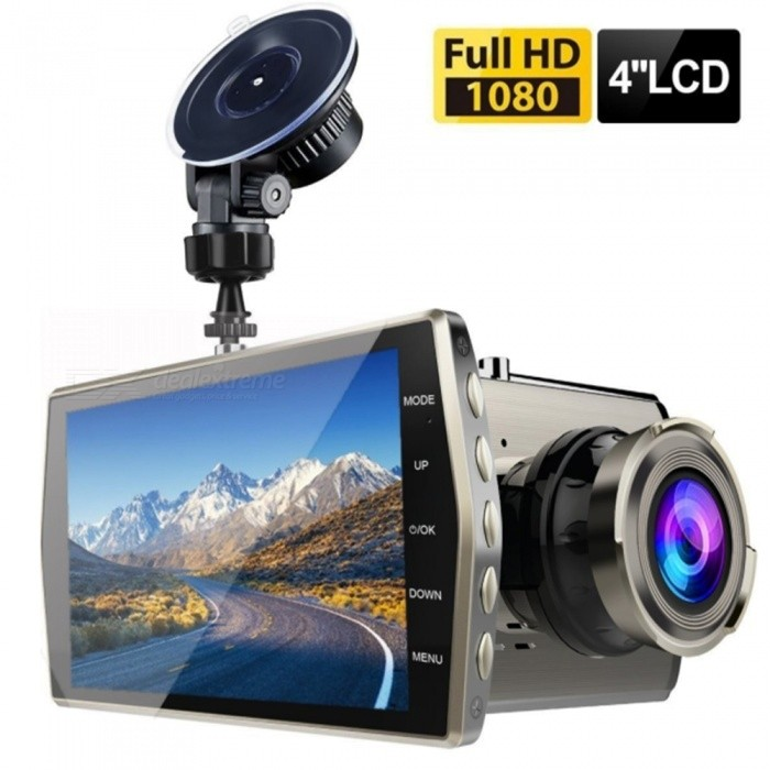 Dual Lens Car DVR Vehicle Camera Full HD 1080P 4quot IPS Front+Rear Night Vision Video Recorder G-sensor Parking Monitor