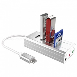 USB 3.1 Hub TO 3 Port USB 2.0 Hub + Headphone + Mic Ports Multi-Function Concentrator Sound Card Multi Ports Splitter