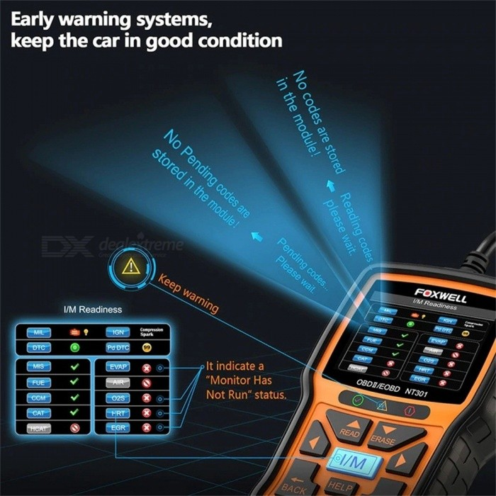 Foxwell NT301 OBD2 Engine Universal Car Code Reader Diagnostic Tool  Multi-languages Scan Tool Automotive Scanner Black