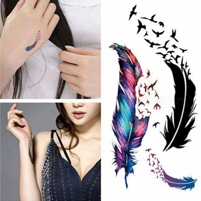 Buy Waterproof Feather Small Freshness Tattoo Sticker Colorful Three-dimensional Feather Geese Temporary Stickers with Litecoins with Free Shipping on Gipsybee.com