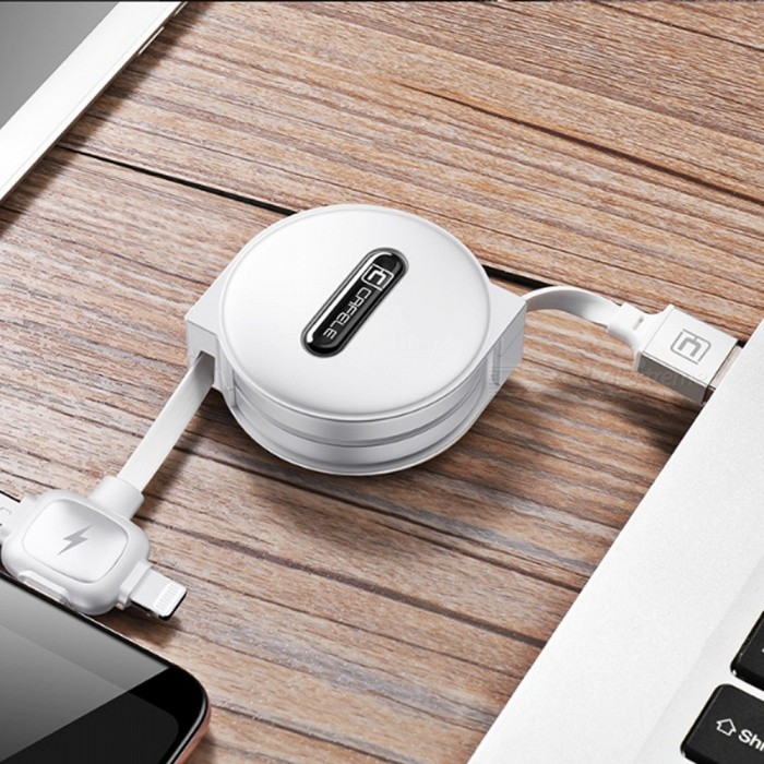 Cafele 1.5m Retractable 3-in-1 Lightning / Micro USB / Type-C Charging Data Cable With Cable Organizer Storage Case 1.5m