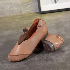 Retro-Handmade-Top-Leather-Women-Shoes-Casual-Soft-Sole-Round-Toe-Slip-On-Flat-Shoes-For-Women-Sand-Color40