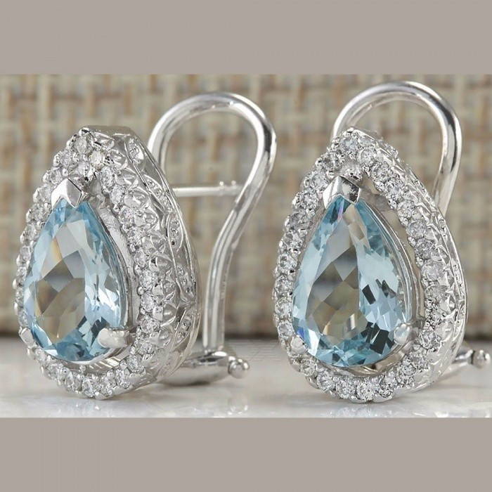 Fashion Rhinestones Decorated Water Drop Stud Earrrings Shining Crystal Earrings Jewelry For Women Silver