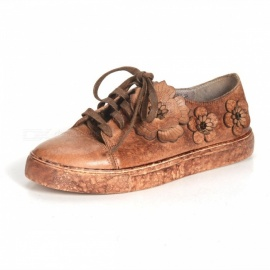 Flowers-Decorated-Retro-Cowhide-Leather-Womens-Shoes-Casual-Round-Toe-Lace-up-Flat-Shoes-Chocolate34