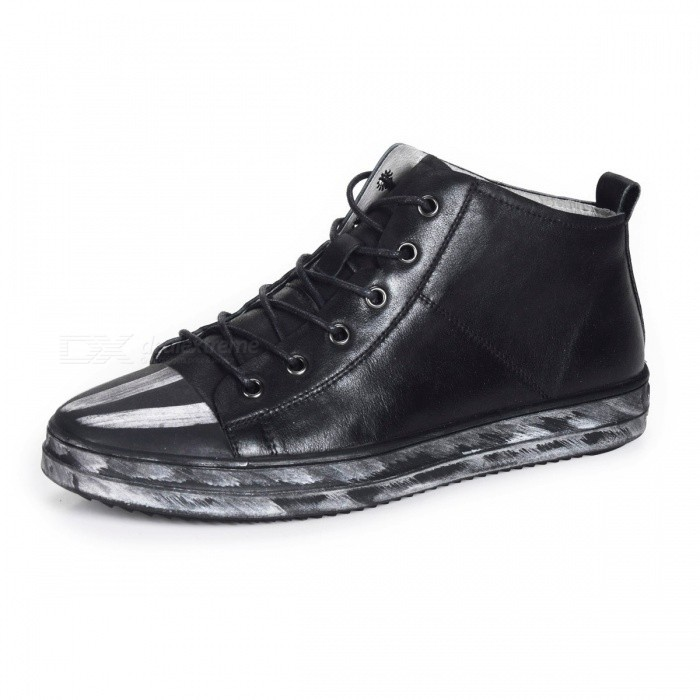 Vintage Genuine Leather Casual Shoes, Soft Comfortable Breathable Lace Up Men's Loafers Sneaker For Daily Wear Black/38