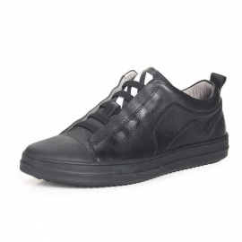 Genuine-Leather-Casual-Shoes-Breathable-Comfortable-Elastic-Band-Mens-Loafers-Sneaker-For-Daily-Wear-Black38