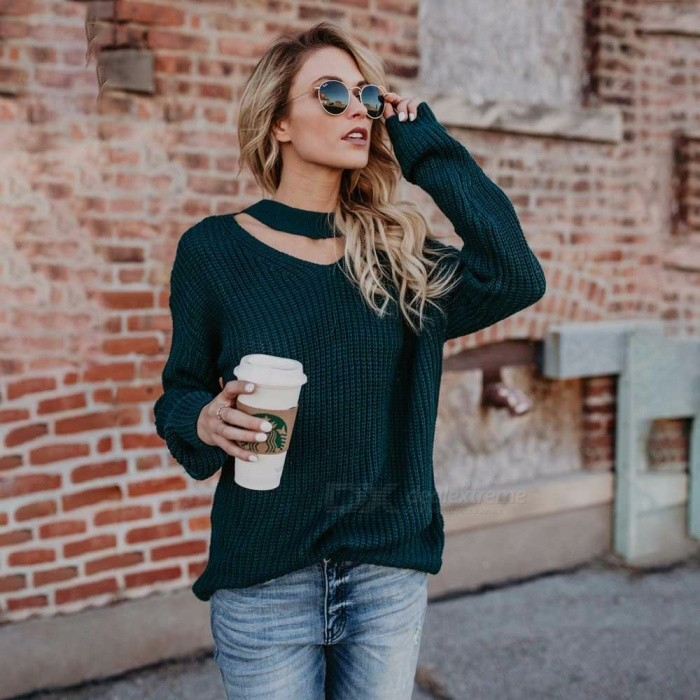 Autumn-Winter-Loose-Knitted-Sweater-Casual-V-Neck-Choker-Pullover-Sweater-For-Lady-Girls-Dark-GreenS