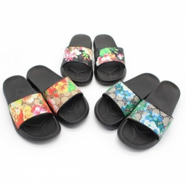 0eb29b13a739f Flower Print Casual Womens Flat Sandals Anti-slip Soft Comfortable Summer  Slippers Blue 36
