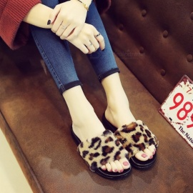 New-Fur-Flip-Flops-Leopard-Female-Cotton-Wool-Word-Drag-Slippers-Non-slip-Shoes-For-Women-Black36