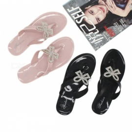 Crystal-Bow-Jelly-Sandals-Women-Flip-Flops-Brand-Bowtie-Slippers-Summer-Beach-Sandals-For-Women-Black36