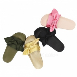Slippers-Bow-Palace-Wind-Sandals-Silk-Satin-Word-Flat-Bottom-Slippers-Shoes-For-Womens-Black36