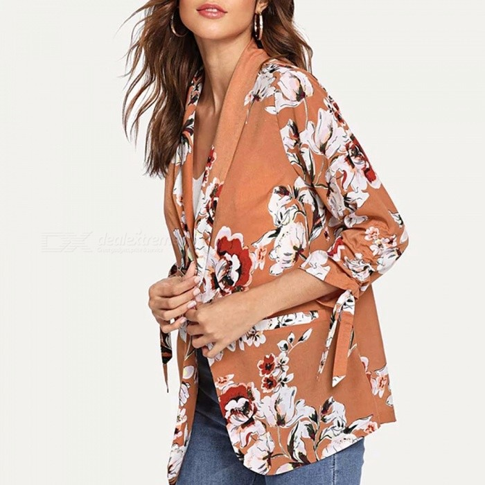 Drawstring-Sleeve-Floral-Print-Office-Ladies-Long-Sleeve-Suit-With-Belt-Women-Autumn-Workwear-Blazer-Jacket-Coral-RedS