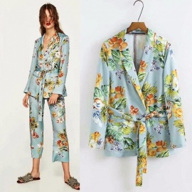 Fashion-Floral-Print-Office-Ladies-Long-Sleeve-Suit-With-Belt-Casual-Women-Workwear-Blazer-Jacket-MintS