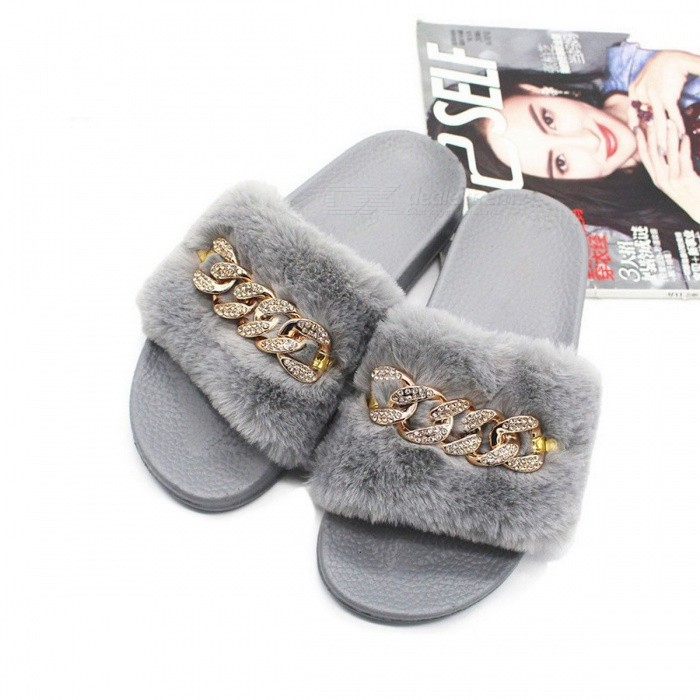 34b356d110a Furry Slippers Faux Fur Non-slip Plush Fashion Crystal Slippers Fluffy  Flock Indoor Flat Flip Flops For Womens Black 40