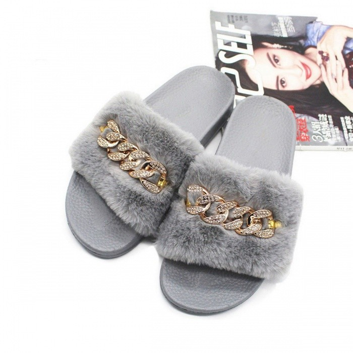 Furry-Slippers-Faux-Fur-Non-slip-Plush-Fashion-Crystal-Slippers-Fluffy-Flock-Indoor-Flat-Flip-Flops-For-Womens-Black36
