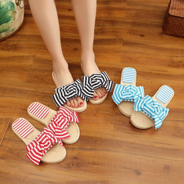 Striped Bowknot Woven Style Flat Sandals For Women Fashion Summer Casual Slippers Black/36