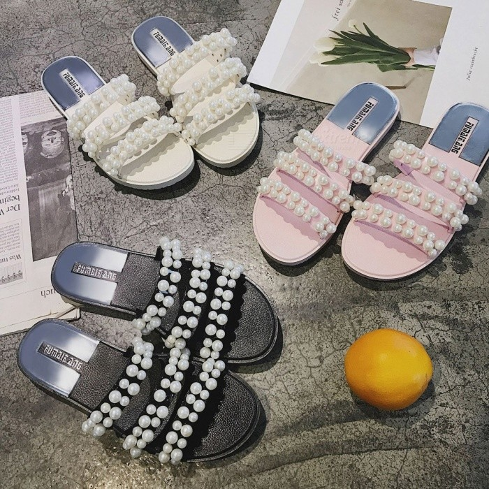 61929ee1499 Fashion Pearl Beads Decorated Flat Sandals For Women Abrasion Resistant  Casual Summer Slippers Black 39