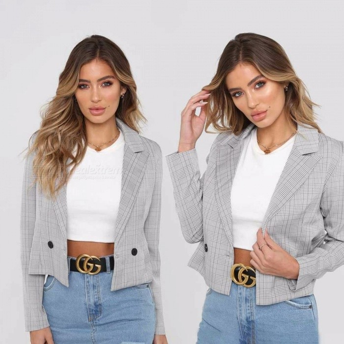 Check-Pattern-Fashion-Long-Sleeve-Blazer-Jacket-For-Women-All-Match-Casual-Short-Tops-Office-Ladies-Suit-GrayS