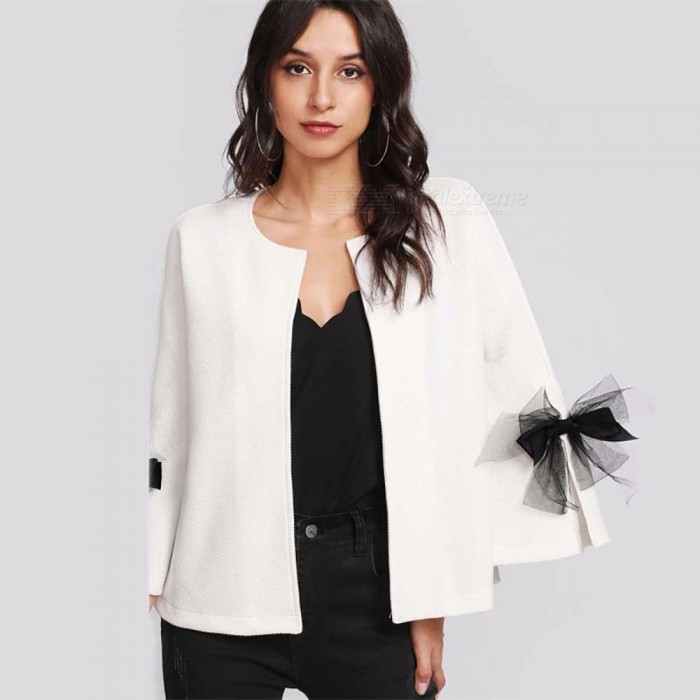 Elegant-Bowknot-Decorated-Three-Quarter-Sleeve-Blazer-Jacket-Womens-Short-Top-Buttonless-Suit-One-Size