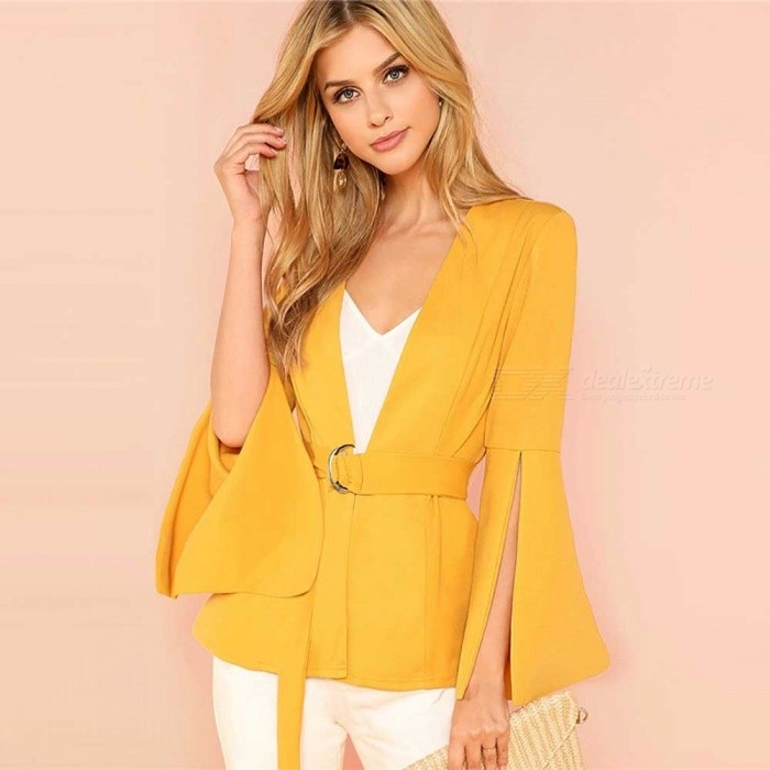 Split Sleeve Belted Top Office Ladies Long Sleeve Workwear Women Autumn Elegant Blazer Jacket Yellow/XS