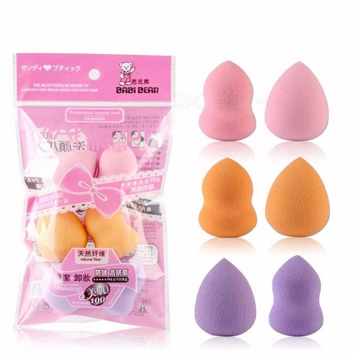 6Pcs Droplet Gourd Shape Mixed Mini Sponge Puff Foundation Base Powder Makeup Blending Concealer Soft Powder Puff