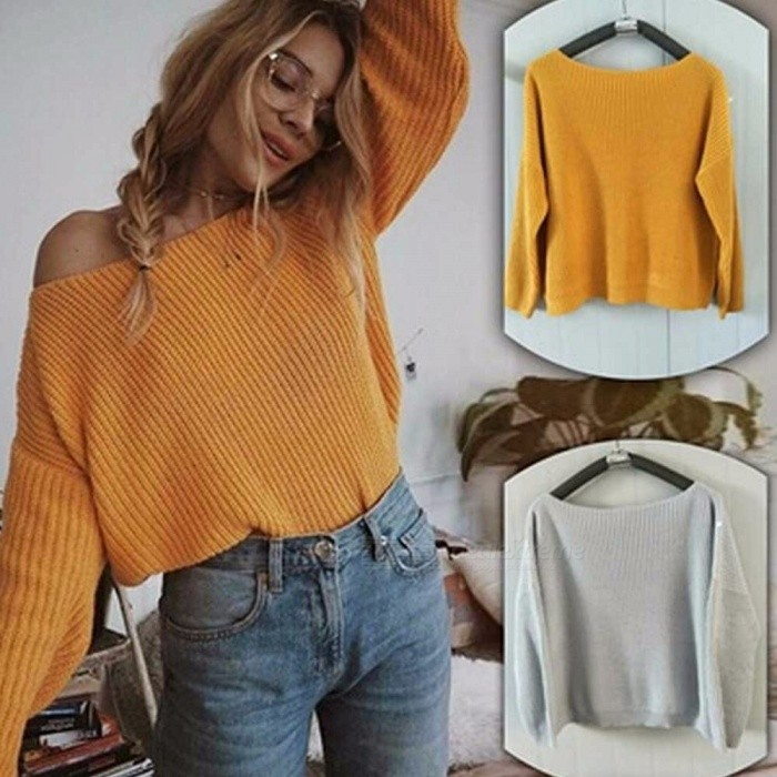 Autumn-Winter-Long-Sleeve-Knitted-Sweater-Solid-Color-Pullover-For-Womens-Loose-Round-Neck-Casual-Sweaters-GrayS