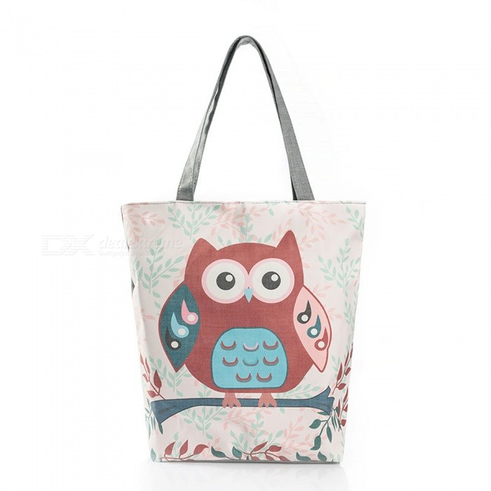 Cartoon Owl Print Canvas Handbag Large Capacity Shoulder Bag Women's Casual Tote