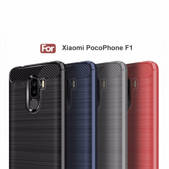 Ultrathin Carbon Fiber Drawing Protective TPU Back Cover Case For Xiaomi PocoPhone F1 TPU