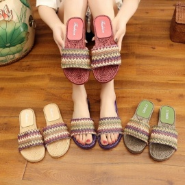 Bohemia-Striped-Woven-Style-Flat-Sandals-Summer-Shoes-Slippers-For-Women-Beige36