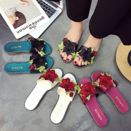 Summer-Flat-Shoes-3D-Rose-Floral-Embroider-Slippers-Soft-Comfortable-Flip-Flops-For-Women-Black35
