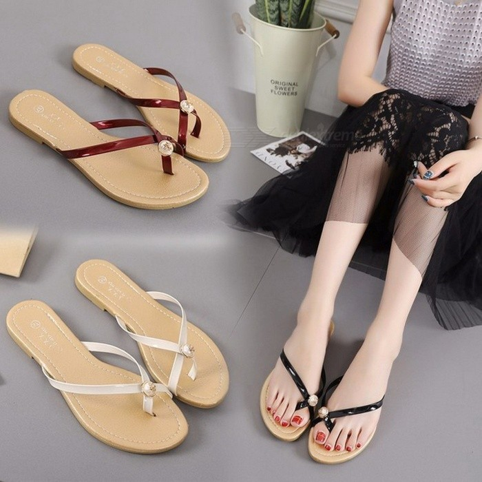 New-Summer-Flat-Shoes-Crystal-PU-Beach-Anti-Slip-Flip-Flops-Casual-Solid-Color-Slippers-For-Women-Beige36
