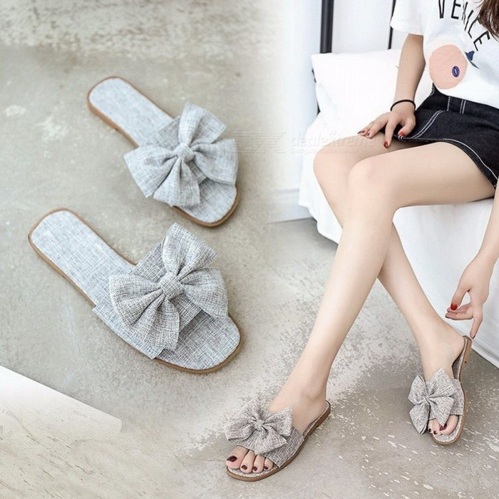 New Korean Version Of Beef Tendon Canvas Shoes Soft Bottom Fashion Bow Wild Seaside Flat Slippers For Women Gray/35