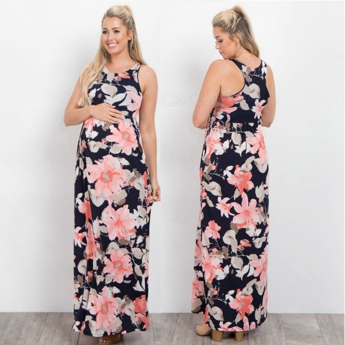 Spring-Autumn-Round-Neck-Sleeveless-Flower-Printing-Ankle-Length-Long-Dress-For-Lady-Women-Sky-BlueS