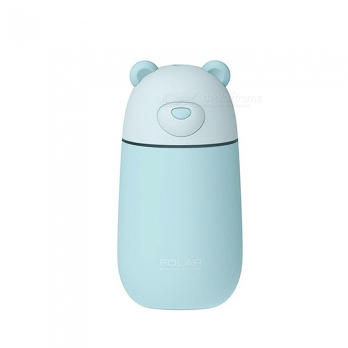 Portable Cute Polar Bear Shape 3-in-1 USB Air Humidifier Moistener With LED Night Light, Mini Cooling Fan Light Grey/US