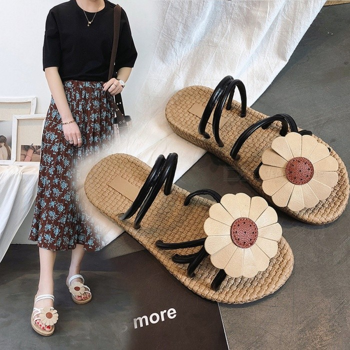 Summer Simple Gladiator Sandals, Flower Decorative Bohemia Hollow Out Flat Slipper Slides For Women Black/35