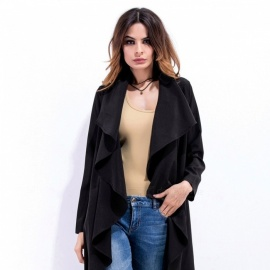 Womens-Windbreaker-Jackets-Large-Lapel-Fashion-Casual-Irregular-Ruffles-Cardigan-Long-Sleeve-Coats-BeigeS