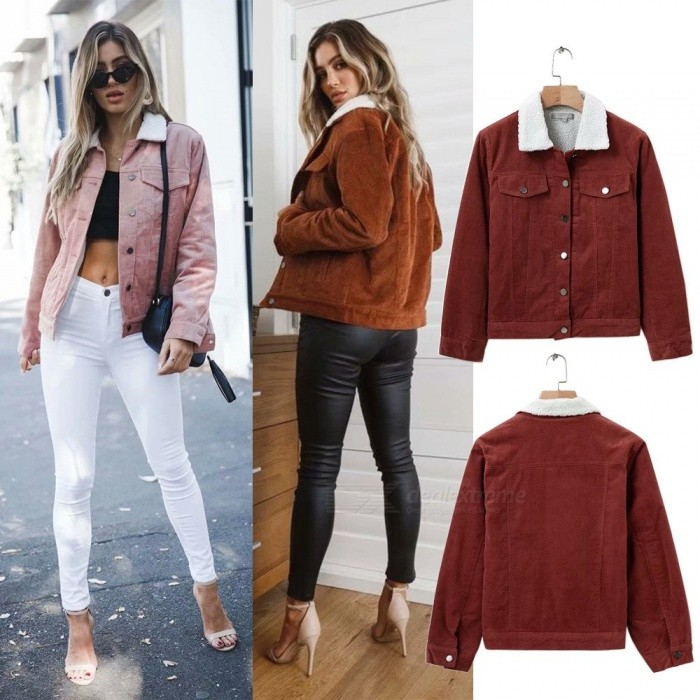 Autumn-Winter-Lambswool-Jackets-For-Women-Corduroy-Jacket-Thick-Cute-Outerwear-Warm-Coat-BrownS