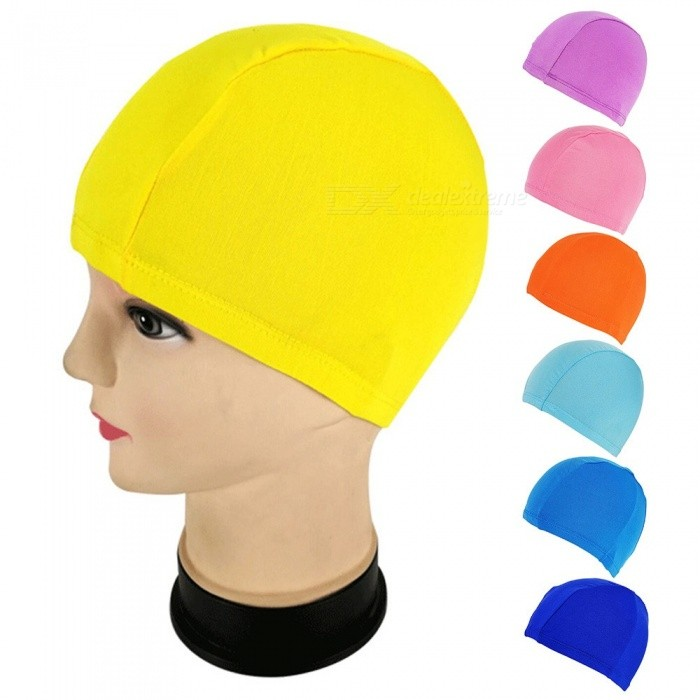Elastic Waterproof PU Fabric Protect Ears Long Hair Sports Swim Pool Hat Swimming Caps Solid Color Yellow/One Size