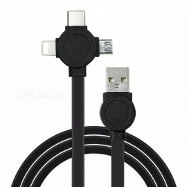 Cwxuan 3-in-1 Micro USB, Typ C, 8-polig-datensynchronisations-ladekabel Für IPHONE Samsung Xiaomi, Huawei, Vivo