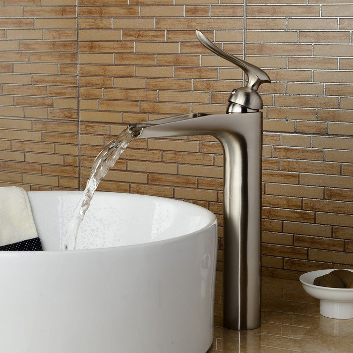 Brass Waterfall Brushed One-Hole Bathroom Sink Faucet with Ceramic ...