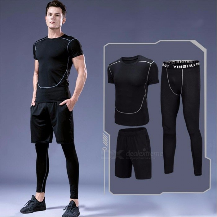 Summer Outdoor Sports Running Fitness Short-Sleeve T-shirt + Pants + Shorts Set For Men Quick Drying Elastic Tight Suit Black/M