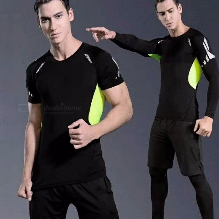 Summer Outdoor Sports Running Green Patching Short-Sleeve T-shirt + Pants + Shorts Set For Men Quick Drying Elastic Suit Black/M