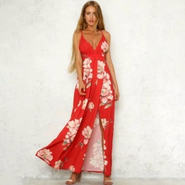 Sexy-Floral-Print-Summer-Deep-V-neck-Slip-Dress-For-Women-Sleeveless-Cross-Strap-Backless-High-Slit-Ankle-Length-Dress-RedS