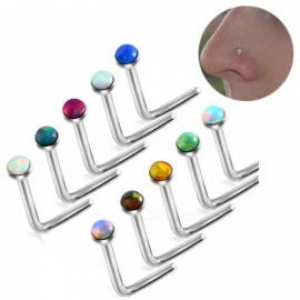 Hot-Opal-Stone-Nose-Stud-Piercing-Steel-L-Shape-Opal-Nose-Bone-Rings-Body-Jewelry-Mixed-10-Random-Color-Multi