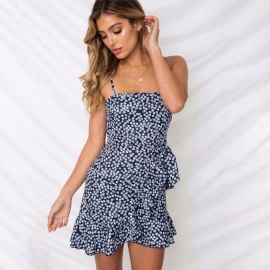 Floral-Print-Summer-Sexy-Polyester-Slip-Dress-For-Women-High-Waist-Flounce-Short-Dress-Navy-BlueS