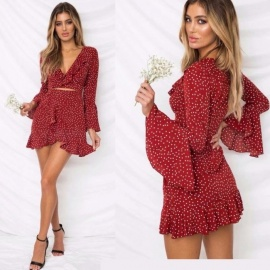 Sexy-Print-Dot-Mini-Dress-V-Neck-Ruffles-Lotus-Leaf-Flare-Flare-Sleeve-Irregular-Short-Dresses-For-Women-BurgundyS