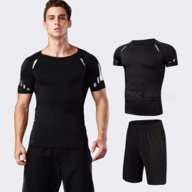 Quick-Drying-Breathable-Skinny-Short-Sleeve-Shirts-Shorts-Mens-Sports-High-Elasticity-Fitness-Clothes-2-PCSSet-BlackM