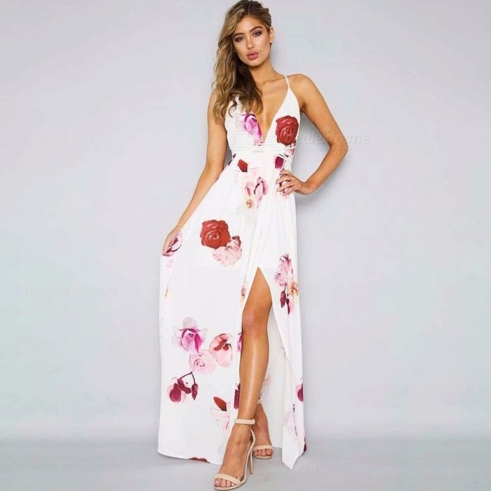 542575c4271 Sexy Deep V-neck Backless Forking Maxi Dress Fashion Floral Print ...