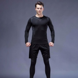 Quick-Drying-Breathable-Skinny-Long-Sleeve-Shirts-Trousers-Mens-Sports-High-Elasticity-Fitness-Clothes-3-PCSSet-BlackM