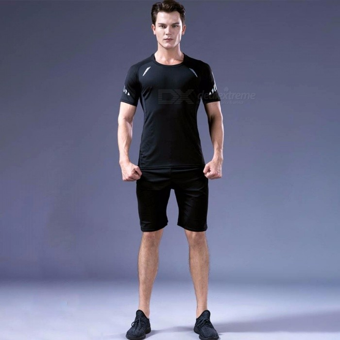 Quick-Drying Breathable Skinny Short Sleeve Shirts Trousers Men's Sports High Elasticity Fitness Clothes 3 PCS/Set Black/M